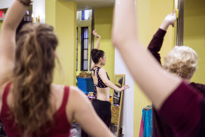 Teaching a belly dance workshop. Photo by Pauline Shypula.